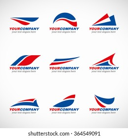 Blue and red airplane logo vector design
