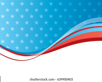 Blue and red background with stars pattern and shine of lights. Abstract vector background in celebration of the Independence of the USA on July 4, 1776.