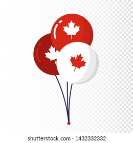 Blue red balloons isolated on white background. Canada Independence Day.  Holiday decoration elements. Cool helium flying balloons bunch. July 1st symbols in Canada flag colors. Vector Illustration