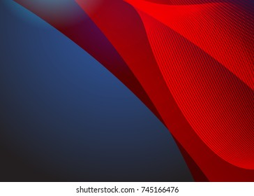 Blue and red banner abstract template for card. Metal Background with waves and reflections. Business background, silver, illustration. Illustration of abstract background with a metallic element