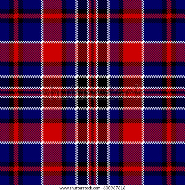 Blue red check square pixel seamless pattern. Vector illustration.