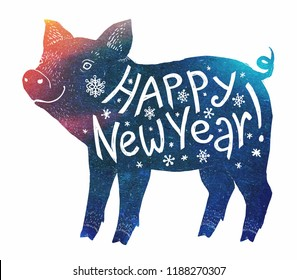 Blue and red color pig silhouette with white hand drawn lettering Happy New Year! Vector holiday element.