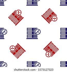Blue and red Database server with screwdriver and wrench icon isolated seamless pattern on white background. Adjusting, service, setting, maintenance, repair, fixing.  Vector Illustration