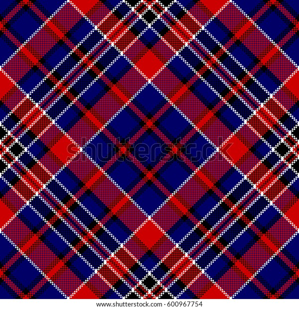Blue red diagonal check square pixel seamless pattern. Vector illustration.