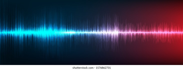 Blue and Red Digital Sound Wave Background,technology and earthquake wave concept,design for music industry,Vector,Illustration.