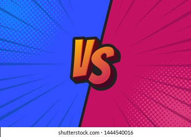Blue and Red Fighter Background Versus Screen, Vector Illustration.