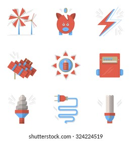 Blue and red flat style vector icons and signs for saving energy concept. Sun and wind energy, piggy bank, power counter. Elements of web design for business.