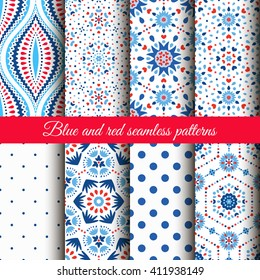 Blue Red Floral Patterns on white background. Dot and flower ornament. Wallpaper collection. Fabric print set. Abstract ogee motif. Funny boho chic style. Ethnic motif. Fashionable decorative design