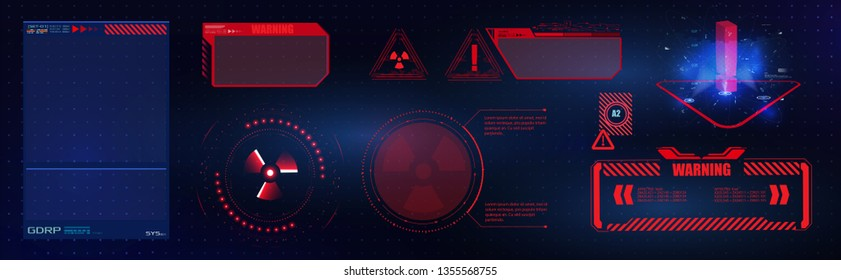 Blue  and red futuristic frame in modern HUD  style background.Abstract technology communication design innovation concept background.Vector abstract graphic design.Warning frame. Abstract tech design