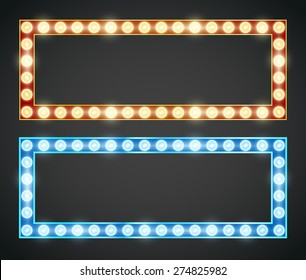 Blue red gold colored vector retro looks frame template. Lamps lighted vector illustration
