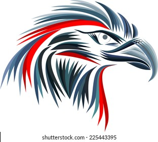 blue and red head eagle
