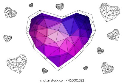 Blue, red heart isolated on white background. Geometric rumpled triangular low poly origami style gradient graphic illustration. Vector polygonal design for your business.