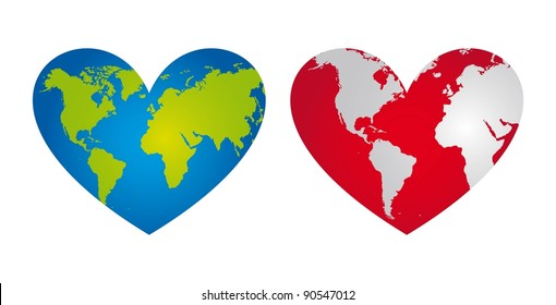 blue and red heart-shaped planet vector illustration