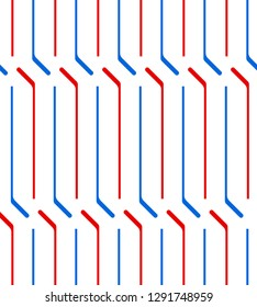 Blue and red hockey sticks on white abstract geometric seamless pattern, vector