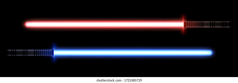 Blue and red light swords for the fights during the wars in the stars. Melee laser weapon for the close combats