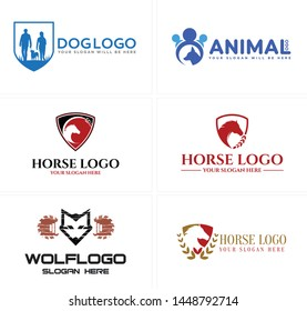 Blue red line art illustration vector horse wolf and woman man holding dog logo design suitable for animal lovers private pet shop zoo