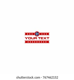 Blue and Red Logo with Tennessee Stars Vector