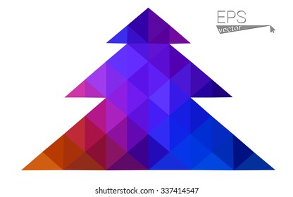 Blue, red low poly style christmas tree vector illustration consisting of triangles. Abstract triangular polygonal origami or crystal design of New Years celebration. Isolated on white background