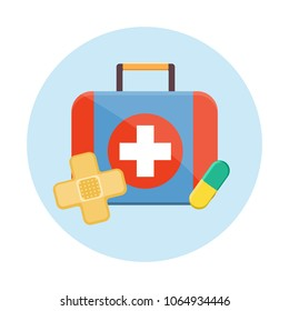 Blue red medicine doctor nurse first Aid kit with white cross set for car home school clinic. Plaster cross tablet pill. Modern flat style vector illustration icons. Isolated on white background.