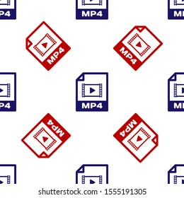 Blue and red MP4 file document. Download mp4 button icon isolated seamless pattern on white background. MP4 file symbol.  Vector Illustration