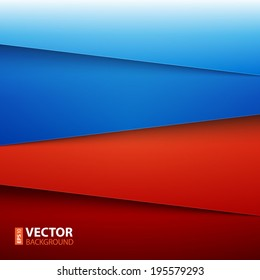 Blue and red paper layers abstract vector background. RGB EPS 10 vector illustration