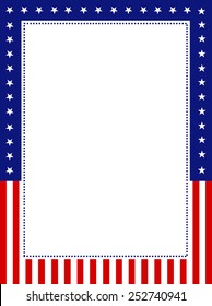 Blue and red patriotic stars and stripes page  border / frame design for 4th of july