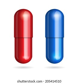 Blue and red pills on white background. Vector illustration