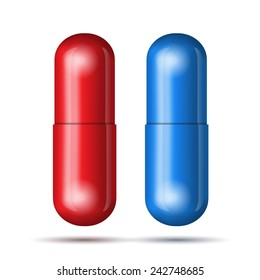 Blue and red pills. Vector illustration