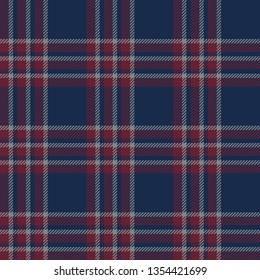 Blue red plaid pattern vector. Seamless tartan check plaid for scarf, poncho, blanket, or other textile design. Weave pixel texture.