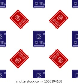 Blue and red Proof of stake icon isolated seamless pattern on white background. Cryptocurrency economy and finance collection.  Vector Illustration