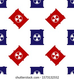 Blue and red Radioactive waste in barrel icon isolated seamless pattern on white background. Toxic refuse keg. Radioactive garbage emissions, environmental pollution.  Vector Illustration