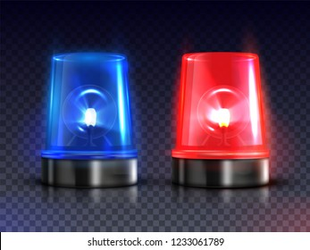 Blue and red realistic flasher sirens set. Fire engines, ambulances, and police cars warning device. Vector realistic illustration