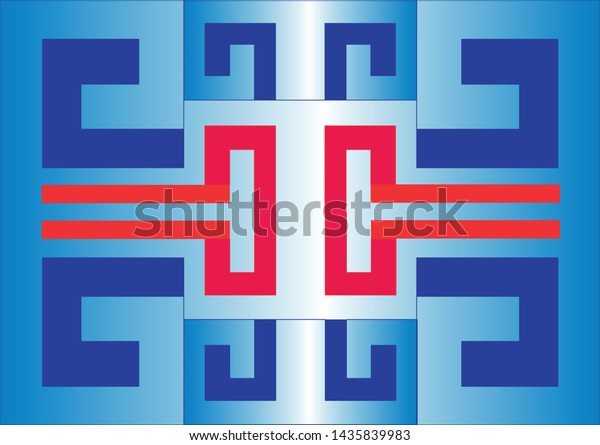 Blue and red rectangles joined into rectangular shapes that mirror.