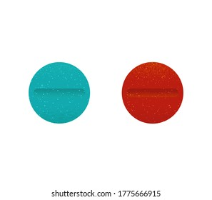 blue and  red  round pill stock vector illustration