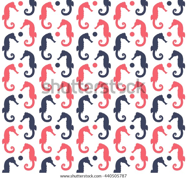 Blue and red sea horses pattern on the white background. Vector Illustration