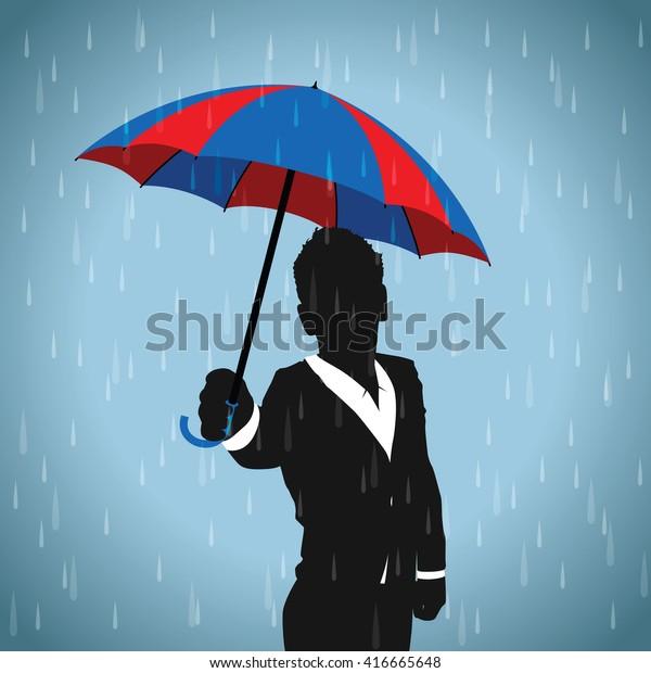 blue and red umbrella