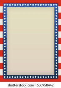 Blue and red USA stars and stripes page border frame design