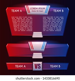 Blue and red versus team scoreboard template