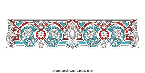 Blue and Red Vintage Frame vector