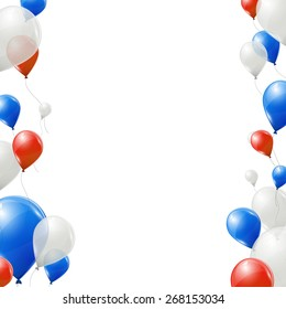 Blue, red and white balloons on white background.