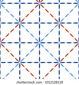 Blue red and white quilted fabric geometric stitches seamless pattern, vector
