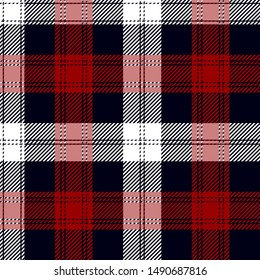 Blue, Red and White tartan plaid Scottish seamless pattern.Texture from plaid, tablecloths, clothes, shirts, dresses, paper, bedding, blankets and other textile products.