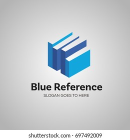 blue reference book literature logo vector template