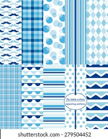 Blue repeating patterns for scrapbook paper, fabric, gift wrap, cards and more. File includes mustache, plaid, polka dot, stripe, argyle, bunting and chevron prints. Navy, blue and white patterns.