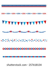 Blue and res stars and stripes divider / frame collection on white background