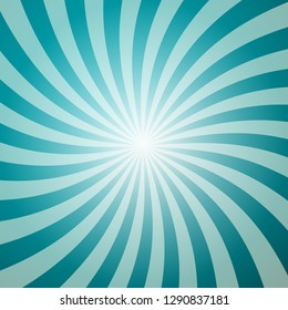 Blue Retro Background with Star Shape. Sun Burst - Sunbeam Vector Backdrop.