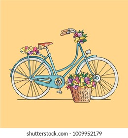 Blue retro bicycle decorated with flowers. Vector illustration.