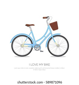 Blue retro bicycle with floral basket isolated on white background. Flat vector illustration of colorful bike.