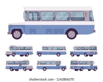 Blue retro bus. Single-decker bright large motor road vehicle for carrying passengers, city transit. Vector flat style cartoon illustration, isolated on white background, different positions and view