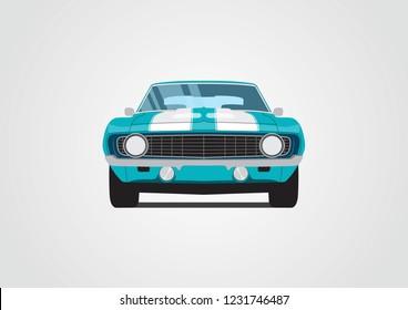 blue retro car. Chevrolet Camaro z28 1969.